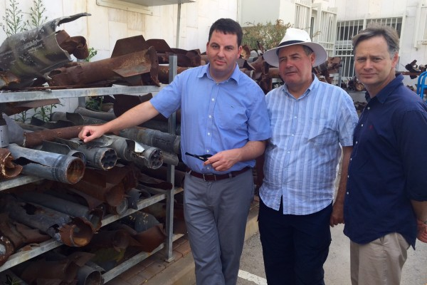Andrew Percy MP, Bob Blackman MP and Matthew Offord MP with Hamas rockets in Sderot