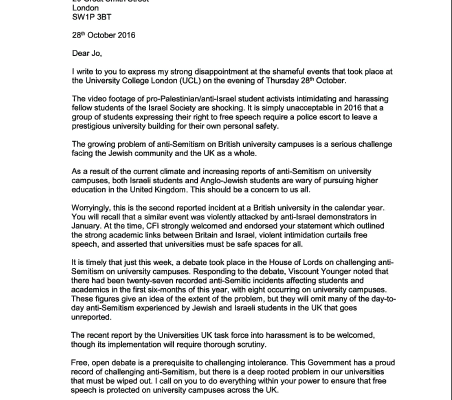Sir Eric Pickles writes to Universities Minister and UCL President