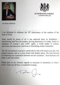 Theresa May letter - Israel 70