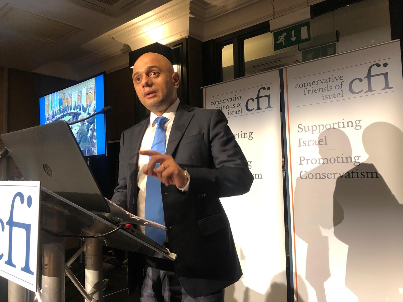 Chancellor Sajid Javid leads support for Israel at CFI Party Conference Reception