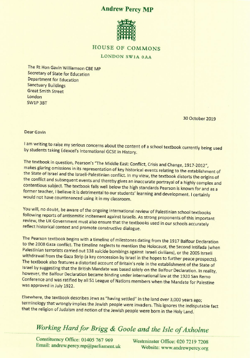 Andrew Percy letter 1
