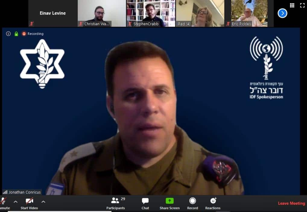 CFI video briefing with IDF Spokesperson Lt. Col. Jonathan Conricus