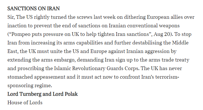 Sanctions on Iran - the Times
