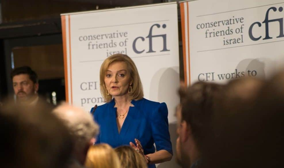 """Foreign Secretary Liz Truss underlines """"there is no closer friend and ally than the State of Israel"""", at CFI Party Conference Reception"""